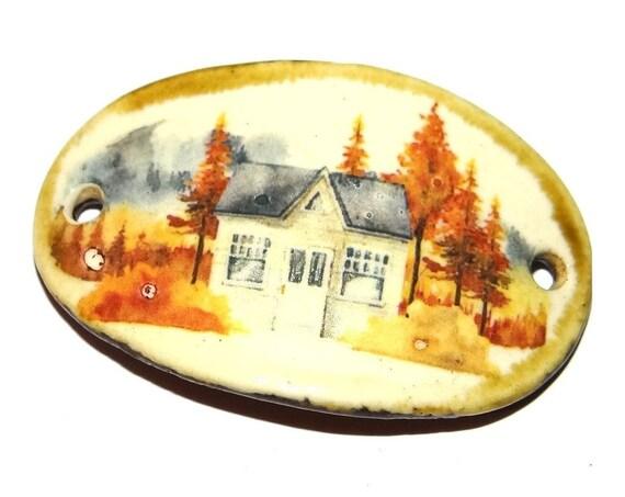 "Ceramic Cottage Bracelet Bar Handmade Cuff Porcelain 45mm 1.8"" CBB5-4"