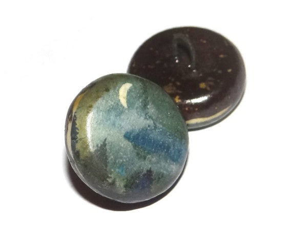 1 Ceramic Moon Scene Shank Button Handmade Porcelain
