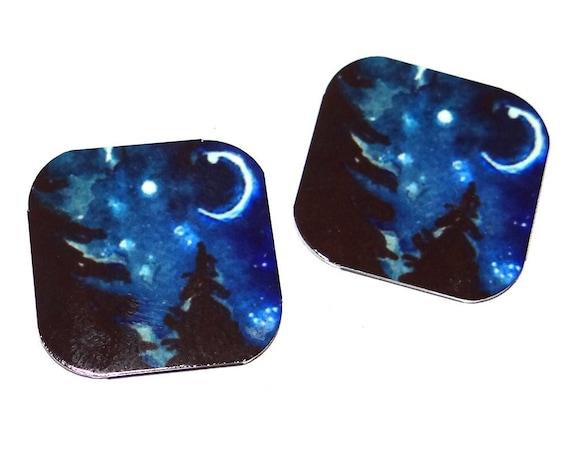 "Metal Night Sky Earring Charms Handmade 16mm 5/8"" MC1-3"