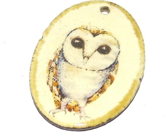 Ceramic Owl Pendant Porcelain Handmade Focal Animal Beads