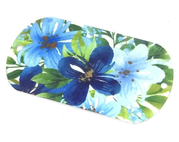 Metal Floral Pendant Bracelet Bar Handmade Blue Floral