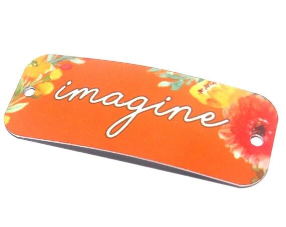 "Metal Quote Bracelet Bar Cuff Handmade Flowers Floral 40mm 1.6"" MBB3-2"