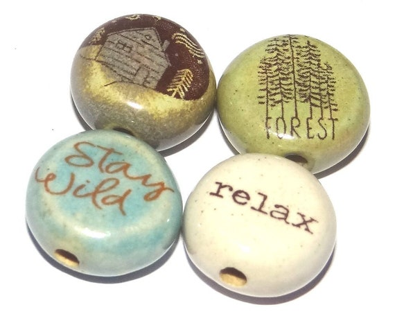 Ceramic Quote Bead Set Beads Handmade Beads Forest Trees Cabin
