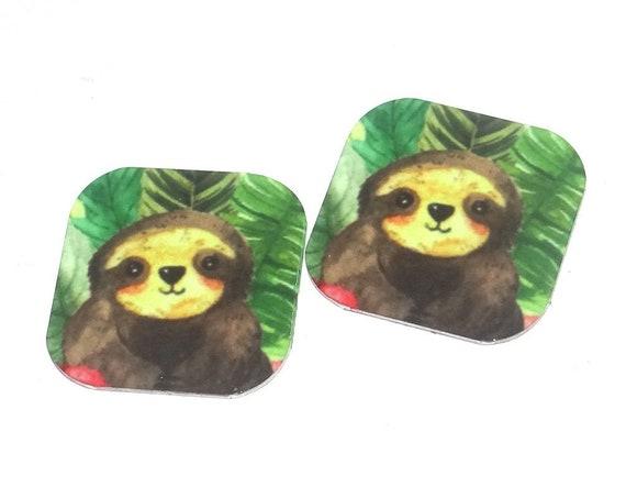 "Metal Sloth Earring Charms Handmade Animal Wildlife 16mm 5/8"" MC2-2"