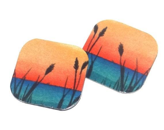 "Metal Lake Reeds Sunset Charms Handmade 5/8"" 16mm MC1-3"