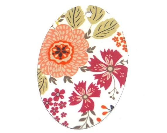 Metal Floral Pendant Handmade Pink 38mm MLP7-1