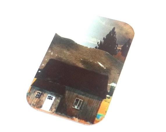 "Small Metal Cabin Mountains Scene Pendant Handmade 32mm 1.25"" MSR5-1"