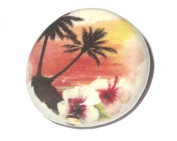 Large Ceramic Tropical Beach Focal Bead Handmade Pottery Beads