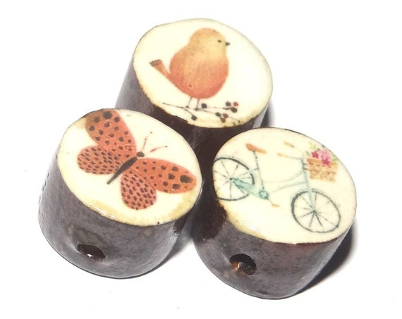 Ceramic Butterfly Bird Animal Bead Set Porcelain Handmade Rustic