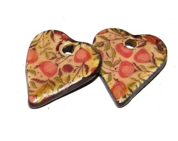 "Ceramic Heart Earring Charms Pair Beads Handmade Rustic 18mm/0.7"" CC1-1"