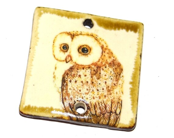 "Ceramic Owl Pendant Handmade Focal Porcelain 30mm 1.2"" CP5-1"