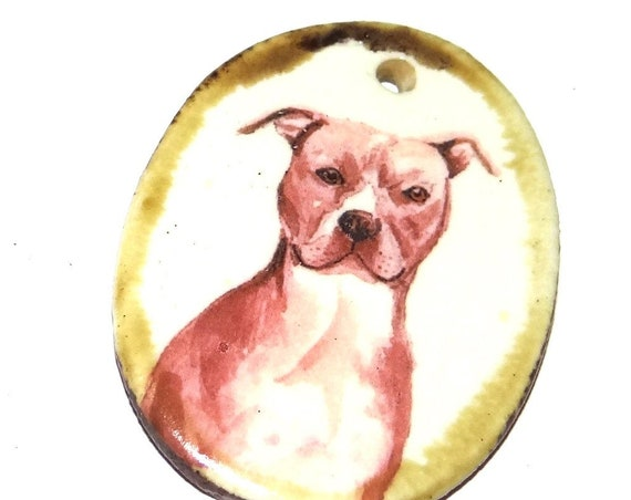 Ceramic Dog Handmade Focal Pendant Necklace Pet Pitbull Pitty Pittie