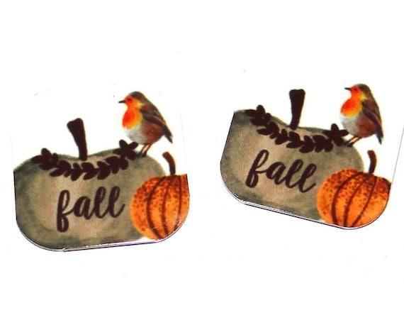 "Metal Pumpkin Fall Earring Charms Handmade 16mm 5/8""  MC1-2"