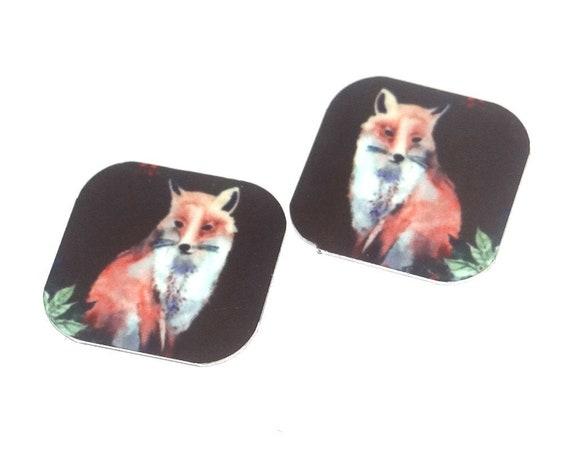 "Metal Fox Earring Charms Handmade Animal Wildlife 16mm 5/8"" MC2-3"