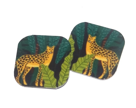 "Metal Leopard Earring Charms Handmade Jungle Animal Wildlife 16mm 5/8"" MC2-2"