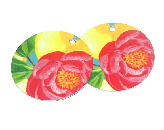 Metal Floral Earring Charms Handmade Lemon Roses