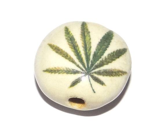 Ceramic Leaf Bead Handmade Porcelain Pottery