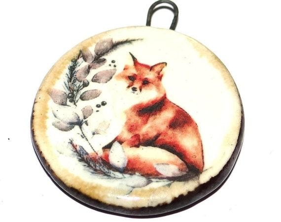 "Ceramic Fox Pendant Handmade Focal Porcelain 40mm 1.6"" CP5-2"