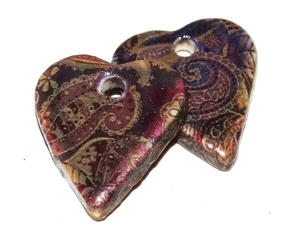 Ceramic Heart Earring Charms Pair Stoneware Pottery