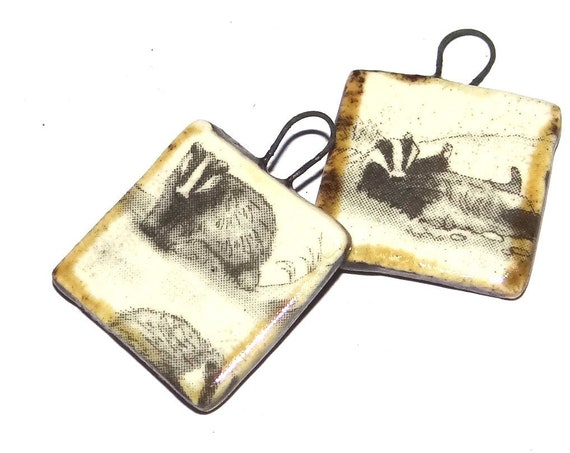Ceramic Badger Charms Beads Pair Porcelain Wildlife Countryside