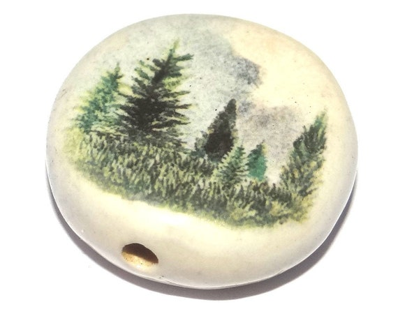 Ceramic Large Forest Focal Bead Porcelain Handmade