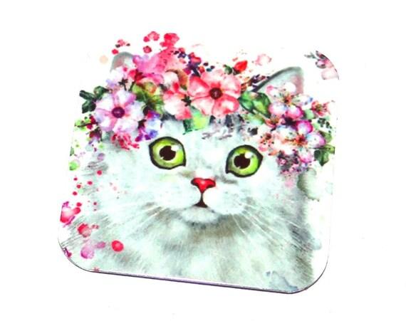 "Metal Cat Charm Pendant Handmade 25mm 1"" Square MSQ4-1"