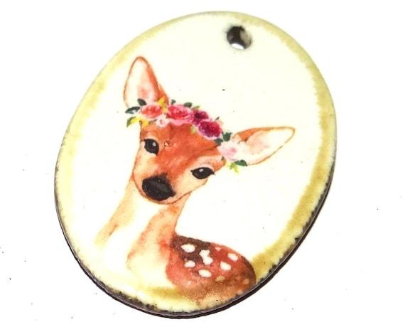 Ceramic Deer Doe Fawn Boho Handmade Focal Pendant Porcelain