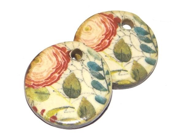 Ceramic Flower Earring Charms Dangle Pair Beads Handmade