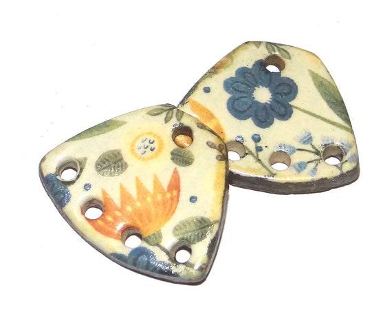 Ceramic Floral Earring Charms Dangle Pair Beads Handmade Rustic