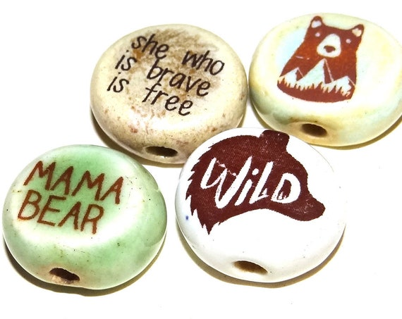 Ceramic Quote Bead Set Message Aspiration Inspirational Motivational Bear Mama