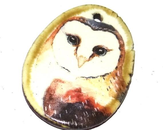 Ceramic Barn Owl Handmade Focal Pendant Porcelain