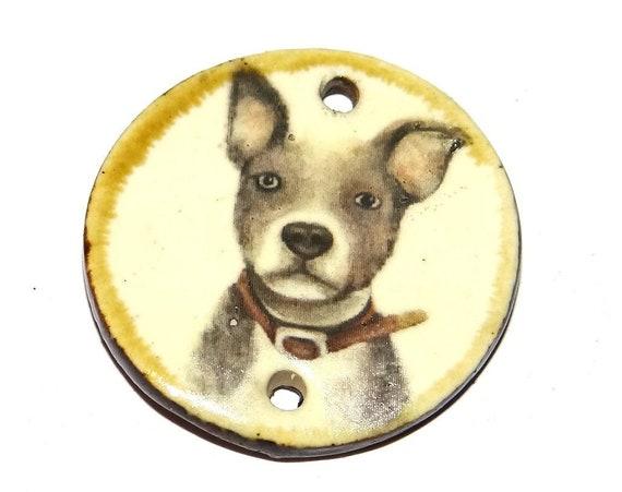 "Ceramic Dog Pendant Handmade Focal Porcelain 30mm 1.2"" CP5-1"