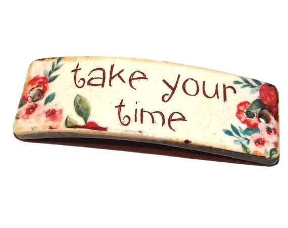 "Ceramic Quote Bracelet Bar Cuff Ocean Words Porcelain 40mm 1.6"" CBB5-4"