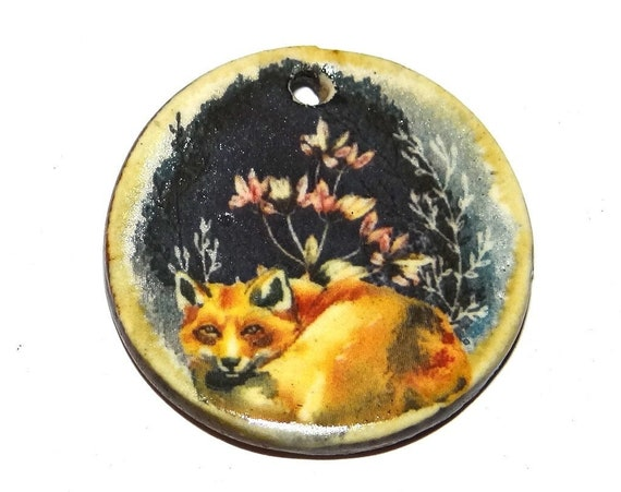 "Ceramic Fox Pendant Handmade Focal Porcelain 30mm 1.2"" CP5-1"