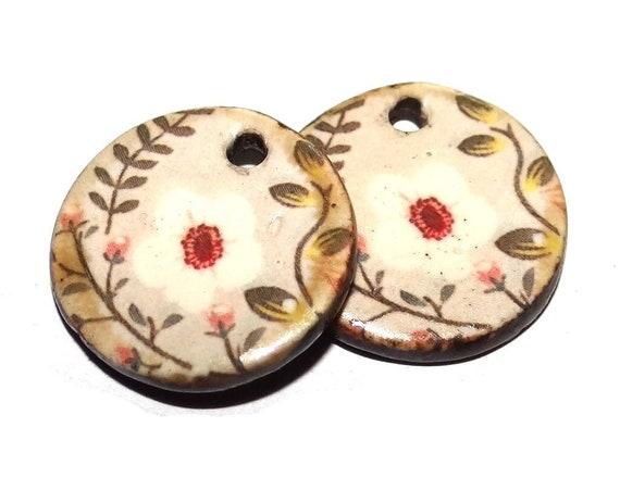 "Ceramic Flower Earring Charms Pair Beads Handmade Rustic 18mm/0.7"" CC3-2"