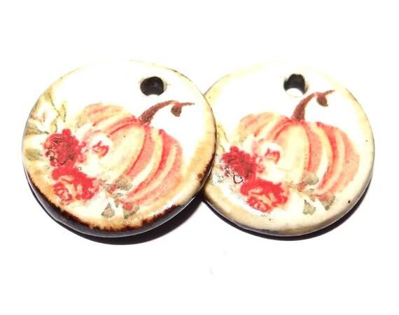 "Ceramic Pumpkin Earring Charms Pair Beads Handmade Rustic 18mm/0.7"" CC3-3"