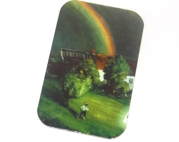 """Small Metal Rainbow Pendant Handmade 32mm 1.25"""" MSR5-1"""