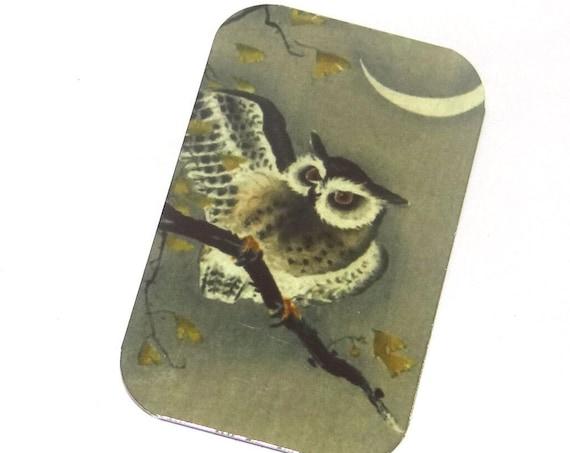 Small Metal Owl Moon Pendant Handmade 32mm