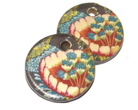 Ceramic Floral Earrings Beads Charms Pair Porcelain