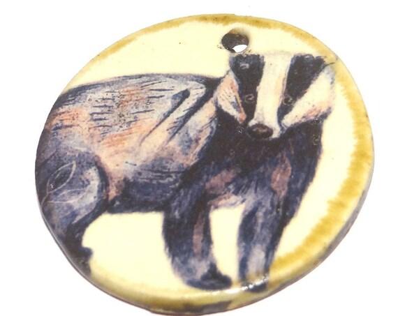 Ceramic Badger Pendant Handmade Focal Porcelain