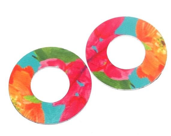 """Metal Floral Patterned Ring Loop Earring Charms Handmade 20mm 0.8"""" MC2-4"""