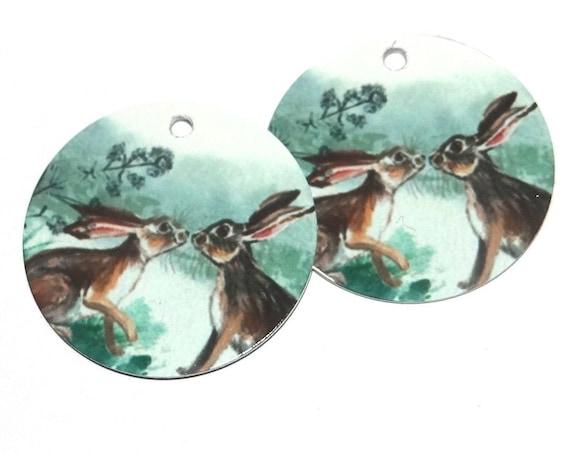 Metal Hare Scene Earring Charms Handmade