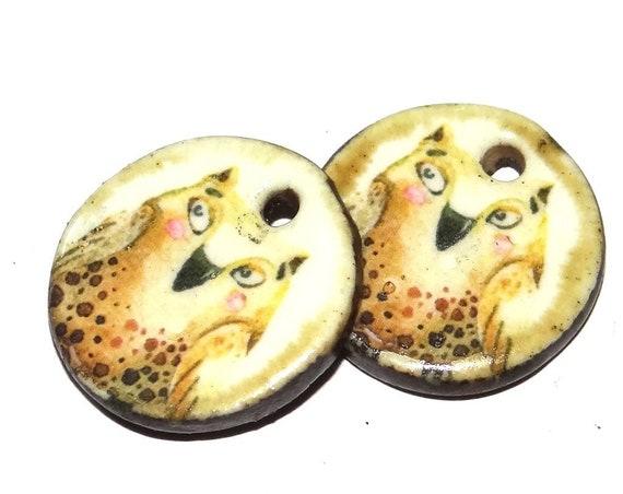 Ceramic Earring Charms Pair Handmade Rustic Owl
