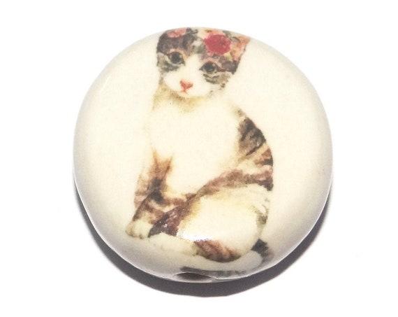 Ceramic Cat Focal Bead Handmade Pottery Beads
