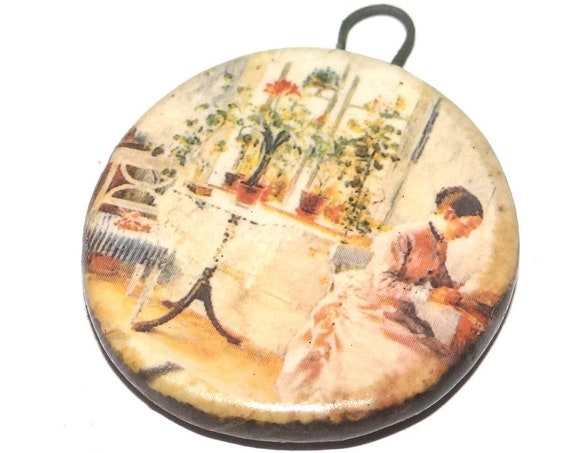 Ceramic Victorian Scene Pendant Handmade Focal Porcelain