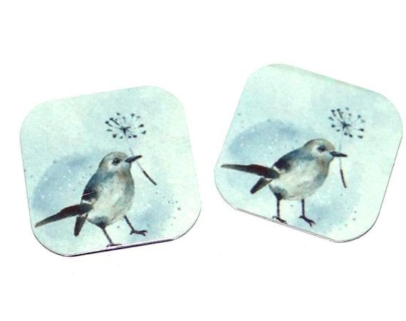 "Metal Bird Earring Charms Handmade 16mm Pair 5/8"" MC1-2"