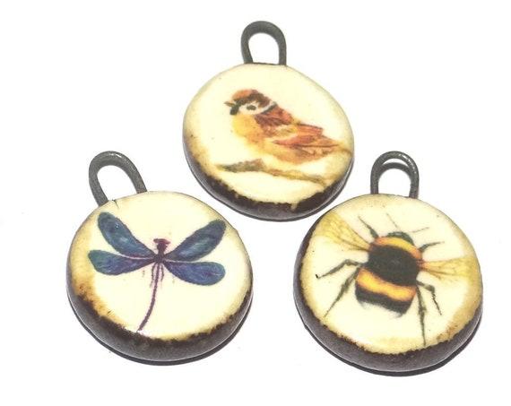 Ceramic Flight Charm Set Handmade Pottery Beads Bird Bee Dragonfly Charms