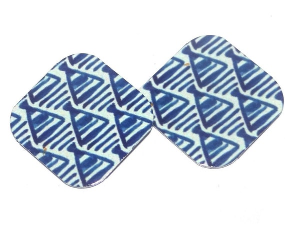 "Metal Blue Patterned Earring Charms Handmade 16mm 5/8"" MC2-1"
