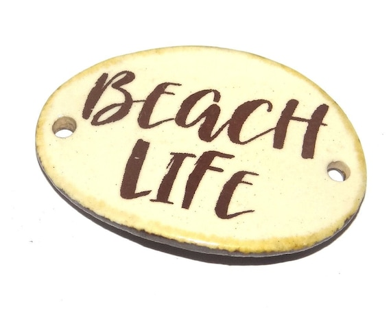 Ceramic Beach Quote Bracelet Bar Handmade Cuff Porcelain
