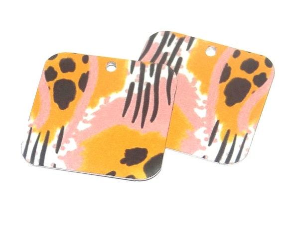 Metal Patterned Earring Charms Handmade Cheetah Leopard